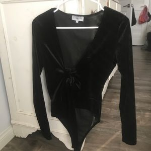 Lioness Tops - LIONESS Velvet black long sleeve body suit